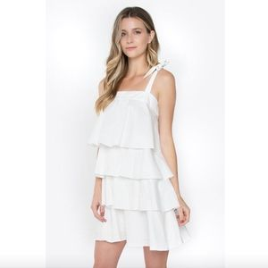 Sugarlips Dresses - New Sugarlips white tiered tie strap dress